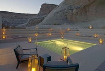 Places ~ Amangiri Resort / Amangiri (peaceful mountain) is located on 600 acres in Southern Utah, close to the border with Arizona and just minutes from Lake Powell.  Tucked into a protected valley with amazing views of the stunning landscapes the resort is built around a central swimming pool and spa. The resort blends into its dramatic surrounds where deep canyons and towering plateaus create a raw landscape of immense power.   #Amangiri