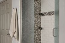 Spa Bath Inspiration / Aching for a retreat to relax and unwind? Transform your bathroom into a spa by adding minimal updates to your space. Check out our inspirational ideas like white claw foot bathtubs, mosaic tile, soft color palettes, and textured glass for the shower, to give your bathroom a fresh look.