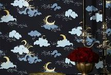 Paper Fashion for Hygge & West / Our Paper Fashion wallpaper designs in action. Check out some of our favorite whimsical patterns, including Moons.