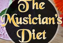 The Musician's Diet! / Everybody needs to eat! As a performing musician, you need to be more aware of your intake than you might believe. We perform our music, often for hours at a time with short breaks. A musician's diet is just as necessary as a sports-person's diet.  You will also find that your creativity improves with a healthier lifestyle and food intake. + Regular exercise helps!