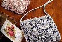 Bags / Torebki robione szydełkiem , na drutach , ozdabiane wstążeczkami