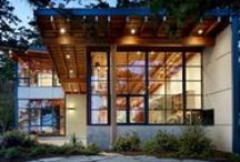 Pacific Northwest architecture / Structures created in the Pacific Northwest style: blend with nature, wood elements, glass, view optimization, overhangs / by Sheila OConnell