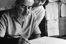 """Al Hirschfeld / When I was a kid my dad would buy the New York Times at the newsstand every Sunday after church. I turned to the entertainment page to Al Hirschfeld's caricatures to look for his daughter's name """"Nina"""" in the picture. / by Eldridge Pearsall"""