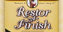 "Restor-A-Finish / ""Restore It - Don't Strip It!"" With a simple wipe-on, wipe-off process, most finished wood surfaces that seem to need a complete refinishing job can be restored in a few minutes with Restor-A-Finish."