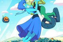 Lapidot / Lapis Lazuli x Peridot Blue and Green ship from Steven Universe