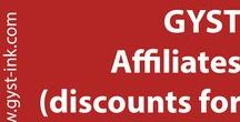 GYST Affiliates (discounts on software) / Organizations and Universities who are Affiliates with Getting Your Sh*t Together/GYST Ink. If you are a member or work at one of these institutions, contact them for a discount code when purchasing software, and you will receive an automatic discount upon purchase.