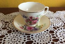 Gracious Cups -/ Saucers / Cup and saucers mostly porcelain but also vintage pottery with roses are my favourite