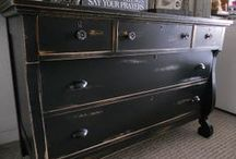 In The Black / Furniture painted with classic black paint.  CC. Caldwell Beckley Coal is a great chalk paint!