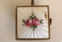 Guilloche / Hand Painted Vintage Enamel Rose Jewelry and Complements