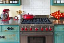 home sweet gypsy KitCHEN / the kitchen of jolie sikes-smith, cofounder of JUNK GYPSY, a truly eclectic farmhouse kitchen. as featured in Country Living and Where Women Create. Turquoise cabinets, vintage signs, and coca-cola red decor!