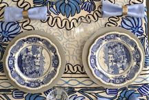 Blue & White Smash Up / A Modern Mix Blue & White Table Setting  / by EDDIE ROSS