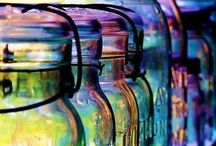 """Beauty of Glass & Bottle Trees  / From magical, """"protective"""" bottle trees, to stained glass windows, etc, colored glass is so pretty and easy to decorate with....And since I have no backyard at the moment, this indulges my desire for a bottle tree!!!! :-) / by Michele Seat"""