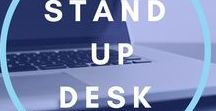 Stand up desk / Stand up desk helps to get greater focus, increased productivity levels and prevent and heal back strain. Follow this board for inspiration workspace setup ideas.