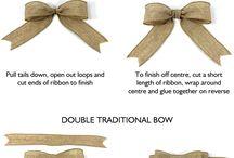 Ribbon bows, gift bags etc