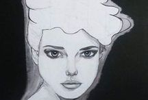 KRA art / acrylic painting, drawing, illustration, black and white art