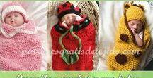 Bebé * ropa tejida a crochet y a dos agujas / Patrones gratis y tutoriales de ropa para bebe: patucos, gorros, sueteres, pantalones, cubre pañal, chambritas, cocoon, mantillas, escarpines, abrigos, baberos