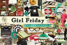 Girl Friday Collection / A retro office themed digital scrapbook collection.