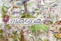 March Winds Scrapbook Collection / A beautiful sweet windy themed scrapbook kit filled with lots of soft breezy fun.