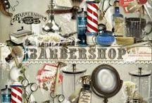 BARBERSHOP Scrapbook Collection / A vintage barbershop themed scrapbook collection from Raspberry Road.