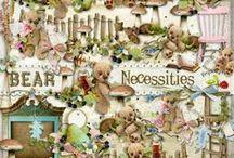 Bear Necessities Scrapbook Kit / A beautiful teddy bear themed scrapbook collection.