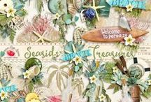 Seaside Treasures Collection / A gorgeous beach/ocean themed scrapbook collection. / by Raspberry Road Designs