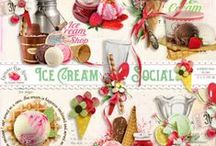 Ice Cream Social Scrapbook Collection / A yummy ice cream themed scrapbook collection from Raspberry Road Designs.