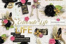 Celebrate Life Collection / A lovely feminine scrapbook collection in shades of pink, gray, black and gold. / by Raspberry Road Designs