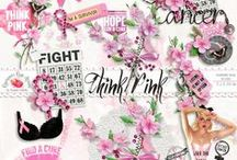 Think Pink Breast Cancer Kit / A beautiful Breast Cancer Awareness scrapbook collection to help you document your fight or that of a loved one. / by Raspberry Road Designs