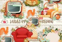 Saturday Morning Collection / A retro style weekend themed scrapbook collection from Raspberry Road Designs. / by Raspberry Road Designs