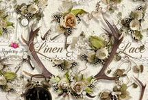 Linen And Lace Colletion / A beautiful vintage inspired scrapbook collection with a bohemian style.