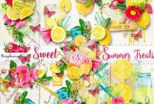 Sweet Summer Treats / A yummy lemonade inspired summer themed scrapbook collection from Raspberry Road Designs.