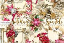 Holiday Sparkle Scrapbook Collection / Christmas themed digital scrapbook collection.