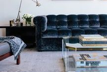 Sofa & So Good / Seats and sofas, often covered in sumptuous velvet and buttoning, jewel colours and great shaping.