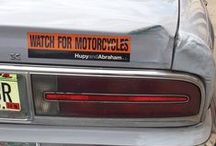 """Hupy Stickers in the Wild / Pin your photos of our """"Watch for Motorcycles"""", """"DNT TXT N DRV"""", and """"I Yield To Pedestrians"""" Stickers from our Safety and Awareness Campaigns here.  Let's see how far our message travels!"""