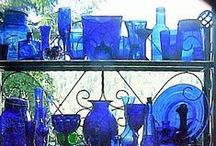 Blue Glass / People who know me know I love blue glass...and it has to be cobalt blue or sapphire blue to catch my eye! / by Christine Bode