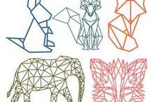 Geometric animals / Een verzameling van geometrische vormen en dieren.