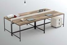 Pieza THREE. El escritorio / La estructura de hierro del programa OLUT para conformar un escritorio de trabajo. Se puede complementar con lapicero en la mesa y los books cajoneras.