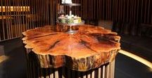 Restaurant & Hotel Tables / The restaurant, hotel and bar tables and elements convey, thanks to the natural character of wood, a comfortable and warming atmosphere. The warm colours provide a cosy ambience and the modern design is definately an eye catcher in any bar.