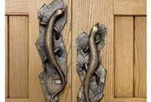 Door Hardware / Door hardware encompasses everything from handles and knockers to hinges and decorative accents. The hardware can be just as diverse as the door itself. Sometimes a plain or traditional handle or knocker are called for. While other times something more ornate or unique fits the bill. Still other times call for decorative, even elaborate, hardware to trim a door. Check out these examples of the various hardware available. #doornmore #hardware exterior door #indoor door #beautiful #funny #amazing / by US Door & More Inc.