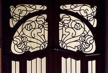 Art Nouveau Door / Art Nouveau is characterized by curved lines and natural forms and structures meant to harmonize with the natural environment. These doors and doorways are inspired by plants and animals using curving motifs in metal, glass, paint, and wood. #doornmore #exterior door #art #style #beautiful