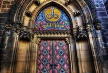 Church Doors / This Board is full of beautiful church doors. From traditional to unique church doors, these doors use color and light to enhance their design. Regardless of the adornment, whether they are painted, tiled, carved, or trimmed, they reflect the sacredness of the edifice. #doornmore #exterior door #color #church