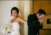 First Look Photos / The first time you see each other on your wedding day is a magical moment. Take inspiration from these first look photos to get an idea of how you want your first look wedding photos to look.