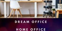 Dream Office | Home Office Organization & Inspiration / Home office organization tips, beautiful offices, and inspiring ways to make your workspace relaxing and productive.  These offices inspire us to get to work.  Everything from innovative organization to surprising ways to improve productivity.  #office #homeoffice #homedecor #desk #organization #workathome #freelancer #productivity #organize