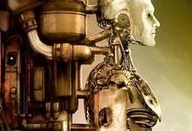 Robots, Androides y Cyborgs / En el ámbito de la Ciencia Ficción, un robot es un mecanismo electromecánico físico con cierto grado de inteligencia y capaz de moverse solo. Los androides son robots con aspecto humano o humanoide. En teoría, ambos siempre siguen instrucciones dadas por humanos. Los cyborgs son seres vivos con algún mecanismo cibernético reemplazando un miembro perdido o añadiendo una nueva función, capacidad o sentido