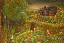 Edwin Hedge / Edwin's canvases shimmer with an all-over texture of complex foliage. His landscapes drift off into the far distance where tiny creatures, architectural fantasies of medieval and byzantine towers, mystical symbols and graceful maidens reside...
