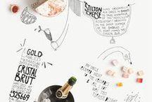 Cibo disegnato / Piccola raccolta di illustrazioni gastronomiche, menù illustrati, lavagne, libri...