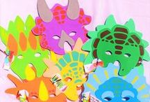 Dinosaur Dig / Dinosaur vinyl figures; play dinosaur bones; dinosaur masks; dinnosaur art to color,  Dinosaur party theme.Learn about Dinosaurs in school. Pre-historic crafts for kindgarten.