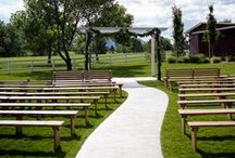Ceremony Lawn / The Barn has a permanent stamped aisle for all those heels or boots that are made for walking. The White Arbor is also now a permanent structure that you can decorate how ever you envision. We provide brown wooden benches for all your guests, with back in the front row for family.