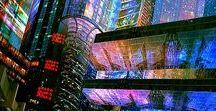 Weird art / World-building inspo. Steampunk Cyberpunk