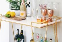 Bar Cart : cheers at home! / Ideas and inspiration for an at homebar cart. Beautiful glasses, eclectic bottles, glamorous decanters and alcoholic displays.
